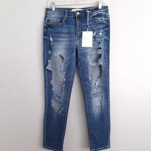 KanCan Mid Rise Distressed Leg Ankle Jeans